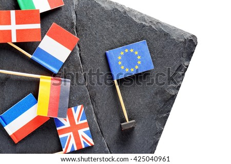 Political concept with flags of the European Union. Flags of European countries separated by crack from flag of the European Union. - stock photo