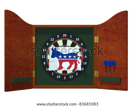 Political Darts - Democrat Dart board with image of Democrat donkey with three darts stuck in it. Political humor - stock photo