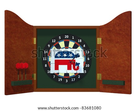 Political Darts - Republican Dart board with image of GOP elephant with three darts stuck in it. Political humor - stock photo