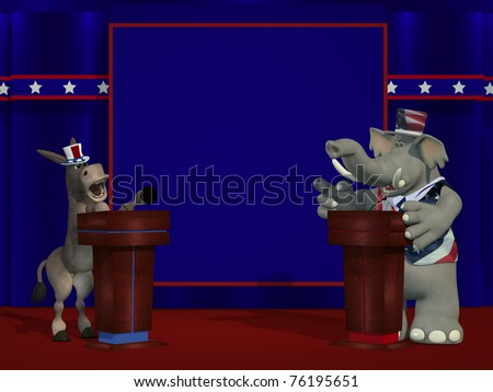 Political Democrat Donkey and Republican Elephant debate each other on stage in front of a blank blue square where you can place your text or logo. - stock photo