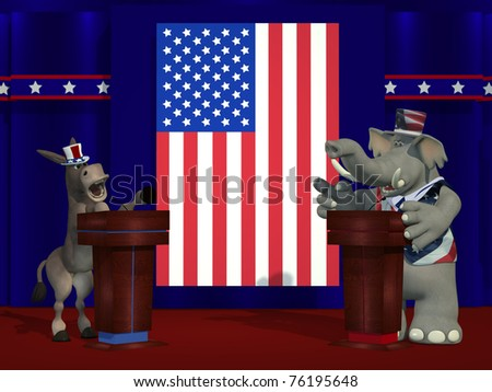 Political Democrat Donkey and Republican Elephant debate each other on stage in front of an American Flag. - stock photo