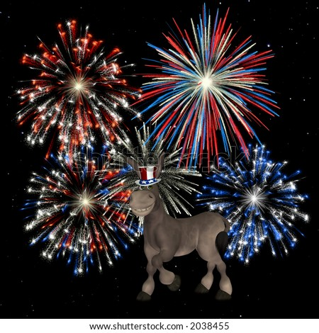 Political Donkey with a backdrop of fireworks over a  starry sky.