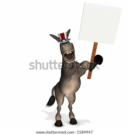 Political Donkey with Blank Sign - Democrat - stock photo