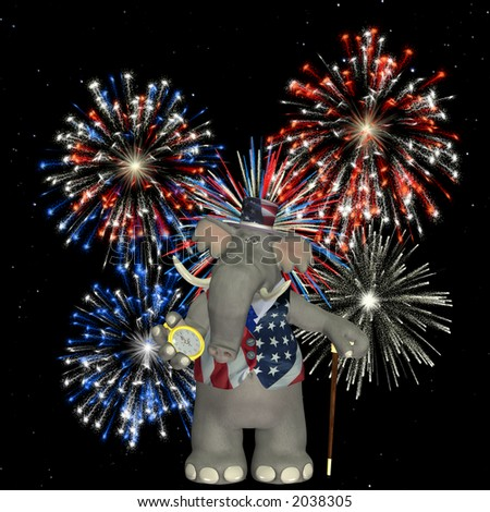 Political Elephant with a backdrop of fireworks over a  starry sky.
