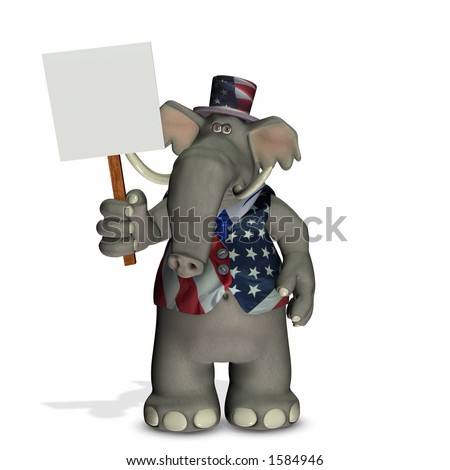 Political Elephant with Blank Sign - Republican - stock photo