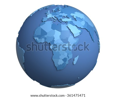 Political globe with blue, extruded countries, centered on Africa