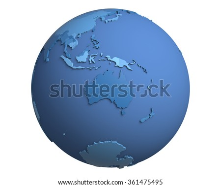 Political globe with blue, extruded countries, centered on Australia - stock photo