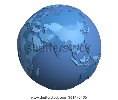 Political globe with blue, extruded countries, centered on India