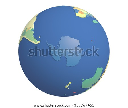 Political globe with colored, extruded countries, centered on Antarctica. - stock photo