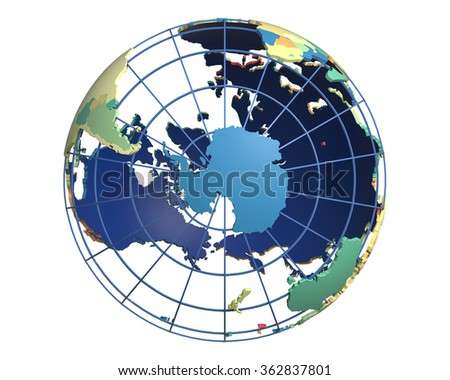 Political globe with colored, extruded countries, centered on Antarctica