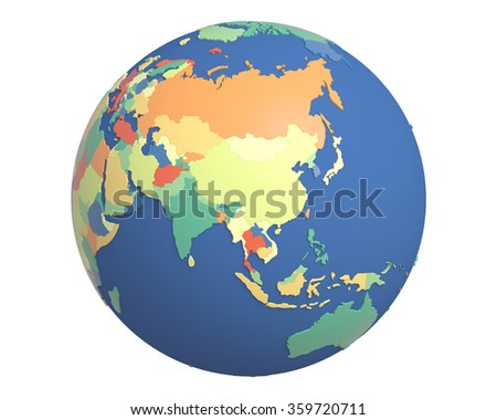 Political globe with colored, extruded countries, centered on China.