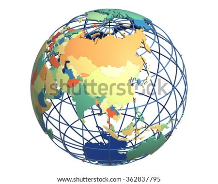 Political globe with colored, extruded countries, centered on China