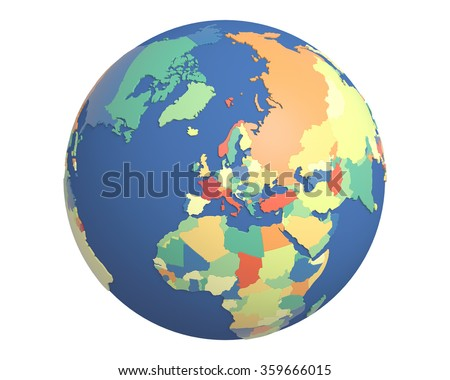 Political globe with colored, extruded countries, centered on Europe.