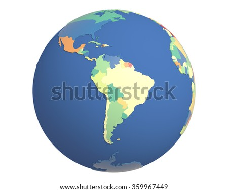 Political globe with colored, extruded countries, centered on South America.