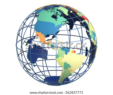 Political globe with colored, extruded countries, centered on the Americas - stock photo