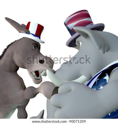 Political Head to Head.  Political donkey and elephant head to head arguing. Isolated on white. - stock photo