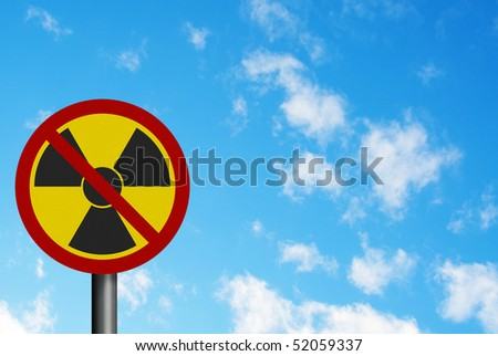 Political issues series: 'anti-nuclear' concept with EU lettering. Photo realistic sign, with space for your text overlay / editorial - stock photo