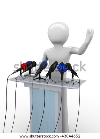 Political leader on a tribune (mass media series) - stock photo