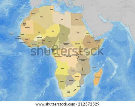 Political Map of Africa, ocean background - stock photo