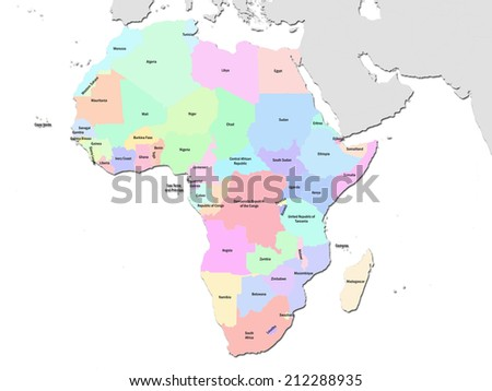 Political Map of Africa, transparent background