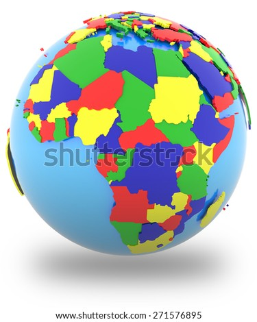 Political map of Africa with countries in four colors, isolated on white background.  - stock photo