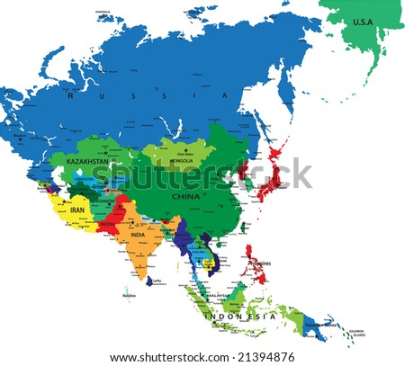 Political map of Asia-the continent with the fastest growing economy