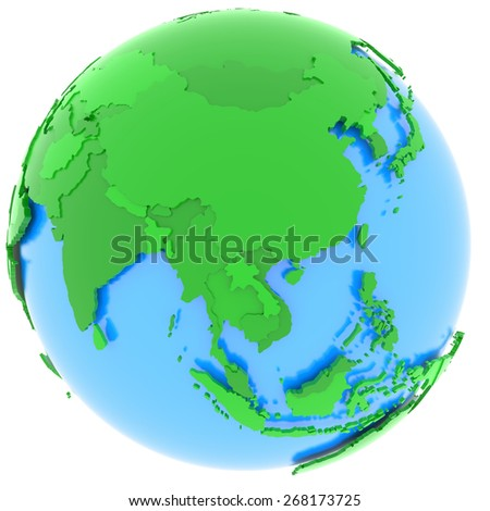 Political map of Asia with countries in different shades of green, isolated on white background.  - stock photo
