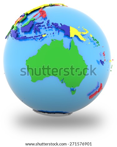 Political map of Australia  with countries in four colors, isolated on white background.  - stock photo