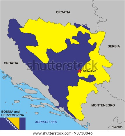 political map of Bosnia and Herzegovina country with flag illustration - stock photo
