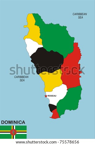 Political Map Dominica Country Flag Illustration Stock - Dominica political map