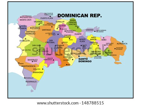 Political Map Dominican Republic Stock Illustration - Dominican republic map