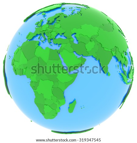 Political map of Europe and Africa with countries in different shades of green, isolated on white background.  - stock photo