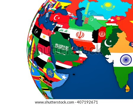 Political map of Middle East region with each country represented by its national flag. 3D Illustration. - stock photo