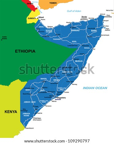 Political Map Somalia Stock Illustration 109290797 Shutterstock