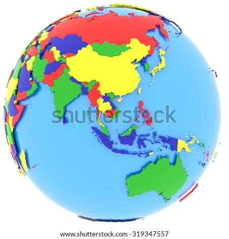 political map of southeast asia with countries in four colors isolated on white background