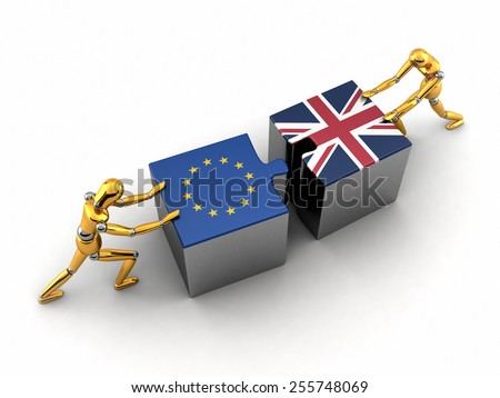 Political or financial concept of the European Union struggling and finding a solution with the United Kingdom. - stock photo