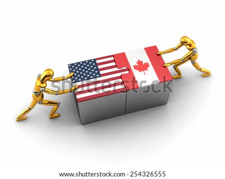 Political or financial concept of the USA struggling and finding a solution with Canada. - stock photo
