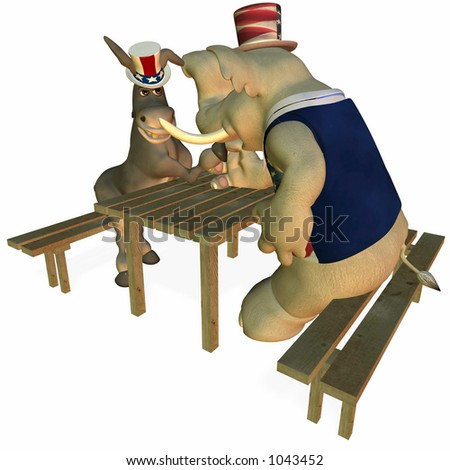 Political Party Arm Wrestling Sporting Event Democrat Point of View - stock photo