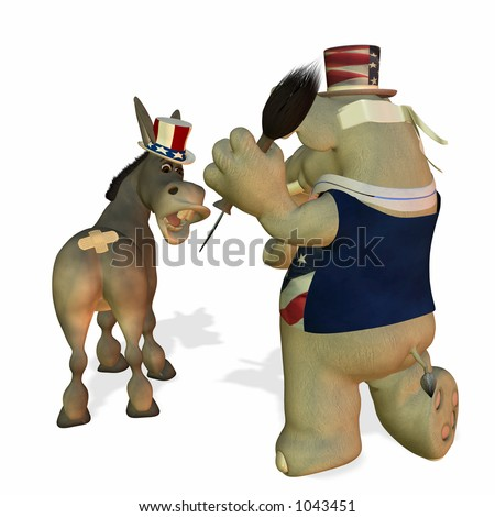 Political Party Game of Pin the Tail on the Donkey - stock photo