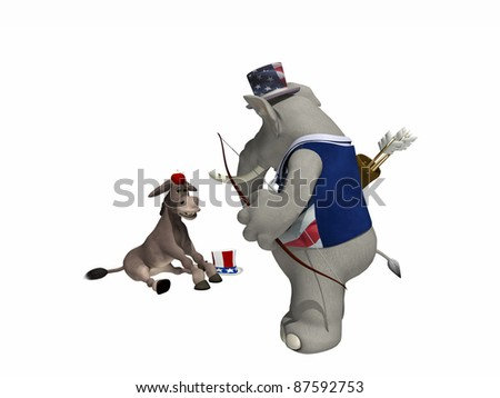 Political Party Sporting Event Archery. Democrat Donkey in a William Tell pose with an Apple on his head and Republican Elephant holding a bow and arrows. Political humor - stock photo