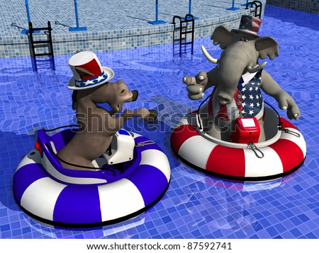 Political Party Sporting Event -Bumper Boats. Democrat Donkey and Republican Elephant facing off in bumper boats. - stock photo