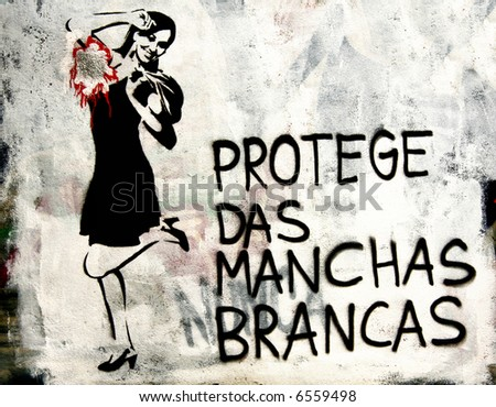 Political Portuguese graffiti of a lady advertising deodrant. Similar to Banksy work - stock photo