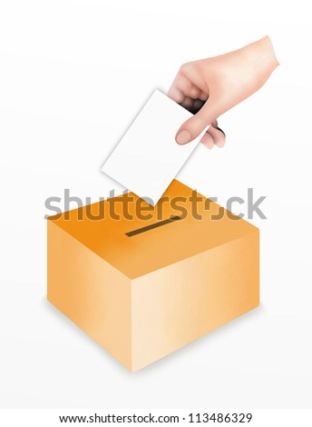 Political power, Hand Putting A Voting Ballot in to A Slot of Box for Casting Their Vote. Isolated on White Background - stock photo