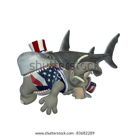 Political Shark - Republican. A cartoon shark with a Republican elephant in his mouth. Political humor. - stock photo
