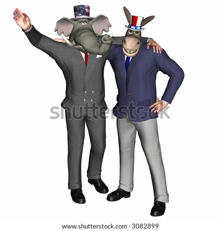 Political Team. Republican Elephant and Democrat donkey smiling with arms around each others shoulders.   Political humor.