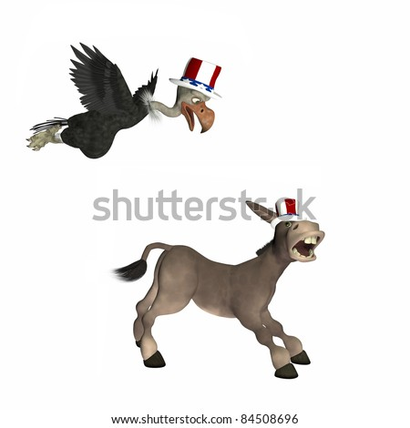 Political vulture Attack.  Vulture flying towards a donkey. Political humor.  Isolated on a white background. - stock photo