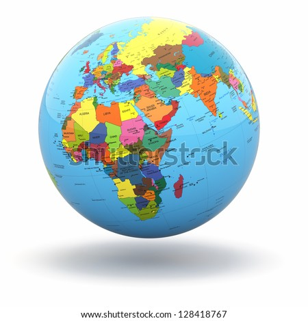 Political world globe on white isolated stock illustration 128418767 political world globe on white isolated background 3d gumiabroncs Image collections