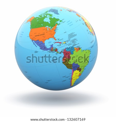 Political world globe on white isolated background. 3d - stock photo