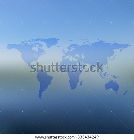 Political world map on blurred background, illustration.
