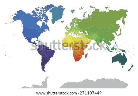Political world map on white background. Colored by countries. - stock photo